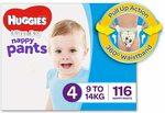 Huggies Ultra Dry Nappy Pants Boys Size 4 (9-14kg), 116pk $34 + Delivery ($0 Prime/$39+) @ Amazon AU
