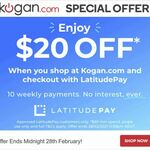 Kogan $20 off $60+ Spend @ LatitudePay (Dick Smith Also Eligible as 2nd Purchase)