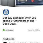 Commbank Rewards - Get $20 Cashback When You Spend $100 or More at The Good Guys