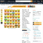 Play-Doh 36 Pack Case of Colors 36x 85g Tubs $19 + Delivery ($0 with Prime/ $39 Spend) @ Amazon AU