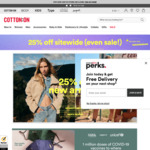 25% Store Wide (Including Further off Sale) + $3 C&C/ $7 Delivery (Free with $35/$60 Spend) @ Cotton On