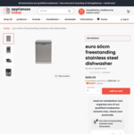 Euro 60cm Freestanding Stainless Steel Dishwasher - ED6004X $480 + Delivery ($0 to Melbourne Metro) @ Appliances Today