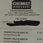Panamax (Generic Panadol/Paracetamol) 100 Tablets for 69c (Was $4.99) @ Chemist Warehouse Perth