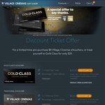 $8 Movie, $20 Gold Class @ Event Cinemas/Village Cinemas - Valid 01 Feb - 01 Mar