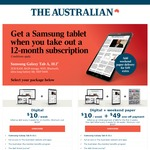 Samsung Galaxy Tab A with a 12 Month Subscription of The Australian Newspaper ($40 Every 4 Weeks for 12month. Minimum Cost $520)