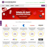 Cashrewards Cashback Increases 24 Stores to 11% for Singles Day