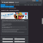 Instantly Win 1 of 100,001 Prizes [VIC & TAS Only - Purchase Any Drink and Popcorn Combo at Village Cinemas to Get Code]
