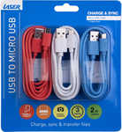 Laser Micro USB Cable - 3 Pack 2metres $10 BIG W