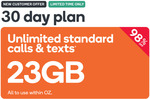 23GB Prepaid Voucher $0.98 @ Kogan Mobile (30 Days, New Customers)