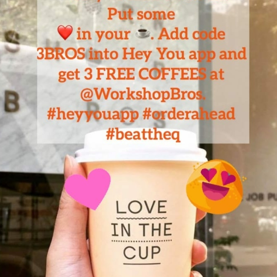 VIC] 3 Free Coffees @ Workshop Brothers via Hey You (Queen St