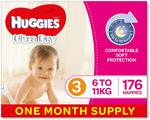 Huggies Ultra Dry Nappies, Size 3 Crawler (6-11kg), 176 Count, $46.57 + Delivery (Free Delivery with Prime/$49) @ Amazon AU