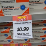 Panamax 500mg 100 Tablets $0.99 @ Pharmacy 4 Less