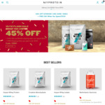45% off MyProtein (Gift with $100 Purchase + $9.99 Delivery)