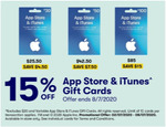 15% off iTunes Gift Cards (Excluding $20 Gift Cards) @ Big W