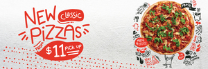 """$11 Large 11"""" or $14 Extra Large 13"""" Classic Pizzas (8 Choices) @ Crust Pizza (Selected Stores)"""