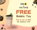 [ACT] Free ORITEA Bubble Tea Giveaway via EASI APP on 17/01/2021. [Canberra Only] (Pick up Only & No Minimum Spend Required)