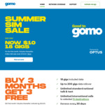 18GB SIM Only Mobile Plan: 6x 30 Days for $60 (Period 1: $10, Period 2 & 3: $25, Period 4-6: Free) @ gomo by Optus