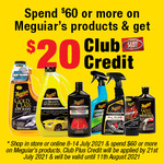 Spend $60 on Meguiar's, Get $20 Club Credit @ Supercheap Auto (Club Plus Members)