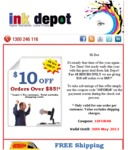 A Deal from Ink Depot! for 48 HOURS ONLY They Are Giving $10 off Orders over $85! *