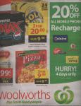 Woolworths: 20% of all Mobile Phone Recharges. 4 Days Only