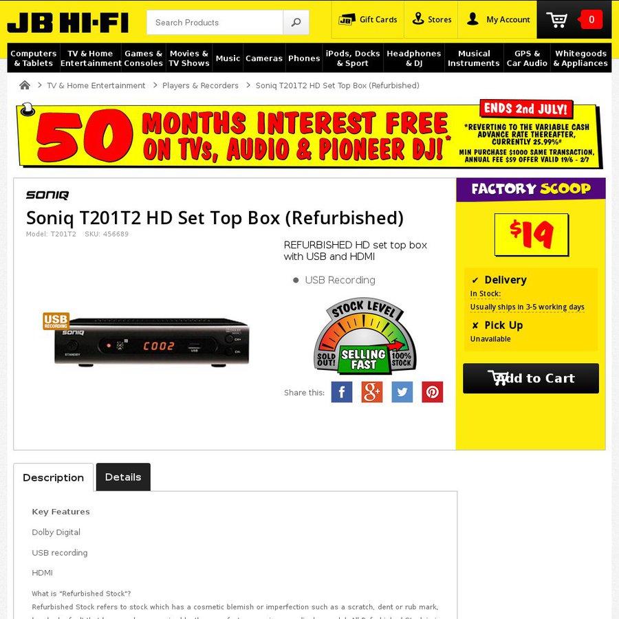 [Refurbished] SONIQ Set Top Box OR DVD Player $19 Each
