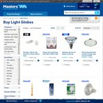 Light Globes, Buy 2 Get 3rd Free @ Masters. Philips Genie 6 for $15.88 and Others