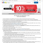eBay Christmas Special 10% off Almost Everything, Min Spend $100