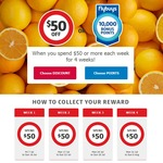 Coles $50 off Groceries or 10,000 Flybuys Points