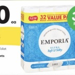 Emporia 3 Ply Toilet Paper 32 Rolls $10, Tim Tams $1.82, Up & Go 3pk $2, Pears 3pk $3 @ Woolworths