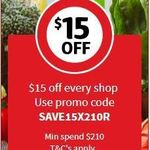 $15 off $210 at Coles Online