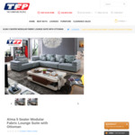 [VIC] New Modular 5 Seater Fabric Modular Lounge Set with Ottoman and Cushions $1650 at The Furniture People (Montmorency)