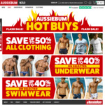 Up to 50% off: Tees $17.48, Joey Shorts $14.97, Cottonsoft Underwear $16.78, WJ PRO Underwear $15.57 @ aussieBum