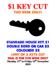 [QLD] House Keys Cut for $1 Each (Limit 5) @ City Mitre 10, Brisbane CBD