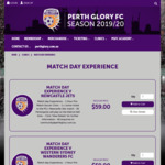 [WA] Perth Glory Match Day Experience $59 (HBF Park, Perth)