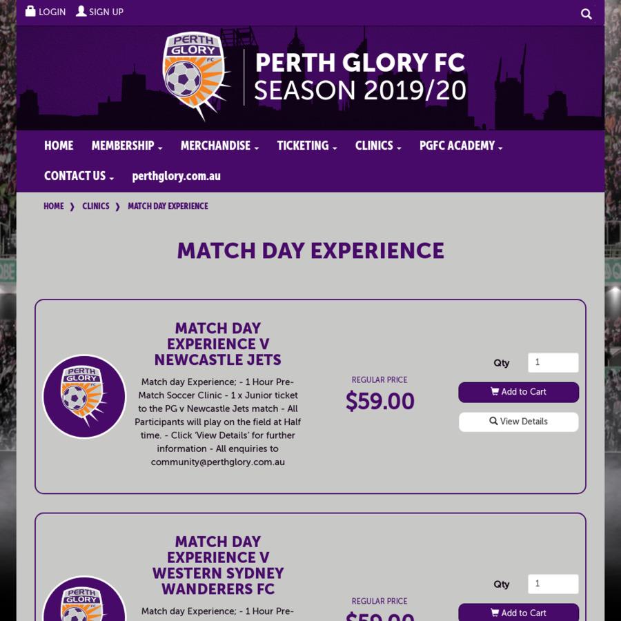 Perth Glory Match Day Experience $59, HBF Park, Perth, WA