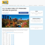 Qantas Flights to New York Return: Sydney - $954, Melbourne - $954 & Brisbane - $956