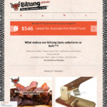 Biltong.com.au (Air-Dried Jerky): 15% off: Wagyu Biltong $70.82/kg, Snapsticks $62.67/kg, Traditional: $53.22/kg, Shipping $9