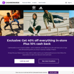 40% off Full Price Storewide* +10% Cashback at 19 adidas Stores Nationally (non-Outlet) by Linking Visa/Mastercard @ Cashrewards