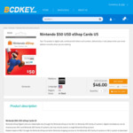 Nintendo $50 USD eShop Cards $42.50 (~AUD $61.45)  @ Bcdkey [US Nintendo Acconts]