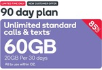Kogan 90 Day Prepaid SIM 60GB (3x 20GB Monthly) $14.90 New Customers Port Over Offer @ Kogan Mobile