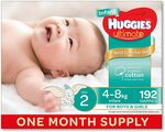 Huggies Ultimate Nappies Size 2 Infant (4-8kg) 192 Count $48 Delivered ($43.20 S&S, $40.80 S&S + Prime) @ Amazon AU