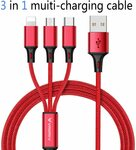 3 in 1 USB Charging Cable for Type C/Lightning/Micro$9.89(10% off) + Delivery ($0with Prime/$39Spend) @ Luoke Amazon AU