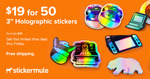 """50 Custom 3"""" × 3"""" Die Cut Holographic Stickers - $26.80 Shipped (Was $109) @ Sticker Mule"""