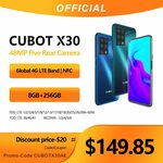 "Cubot X30 - 5 Camera 32MP Selfie 6GB+128GB NFC B28 6.4"" Helio P60 Android 10 US$151.79 (~A$210) Shipped @ CUBOT AliExpress"