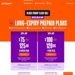 6 Month 125GB Plan $75 (Was $150), 12 Month 120GB Plan $100 (Was $200) + $60 Cashback from Shopback (EXP) @ Amaysim