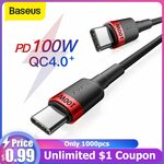 Baseus 0.5m PD 60W Type-C to Type-C Cable US$2.29 (~A$3.03) @ BASEUS Official Store AliExpress