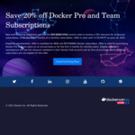 Docker - 20% off Pro or Team Plan for First Year for New & Lapsed Customers - US$48 (~A$62)