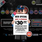 Domino's 3 Traditional Pizzas, Garlic Bread & 1.25 Ltr Drink Delivered $29.95