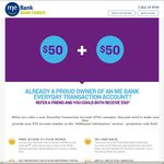 ME Bank Everyday Transaction Account Referral - $50 for You & Your Friend (Maximum 10 Referrals)