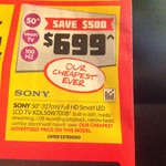 "Sony 50"" Smart TV KDL50W700B at DSE $699"